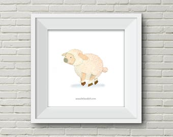 Downloadable Wall Art Modern Prints Animal Printable Nursery Art Print Sheep illustration cute