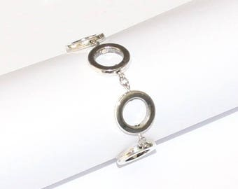 Silver metal bracelet round frame 1 kit to create - KIT-0047