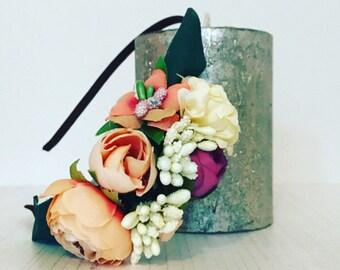 Peach flower headband, floral headband, flower girl headband, spring headband, easter headband, girls flower headband