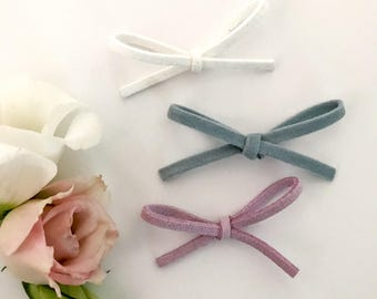 Faux suede cord bow hair clip baby headband set