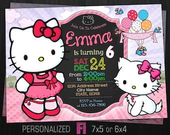 hello kitty invitation hello kitty birthday party personalized printable digital file - Hello Kitty Party Invitations