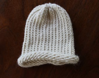 White Kids Size Hand Knit Hat