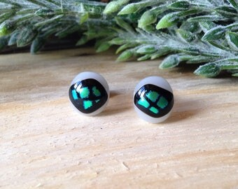 White, green and black dichroic shiny fused glass stud earrings 10mm