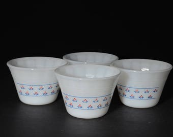 Milk Glass, Dynaware, Pyr-O-Rey, Flower Pattern, 4 custard cups, in mint condition, 1960s, vintage, blue and red