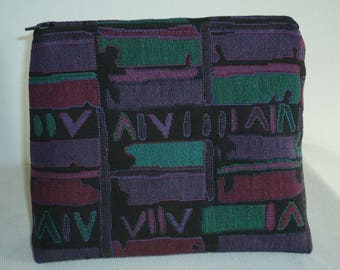 Abstract jacquard clutch black green and purple