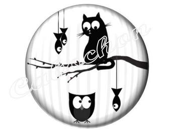 2 cabochons glass 25mm, cabochon cat fish owl OWL silhouette, black and white tone