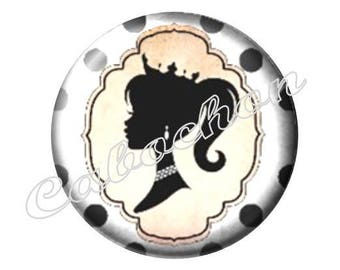 4 cabochons 16mm glass, mother, MOM, your black and white