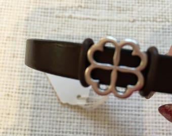 Leather bracelet with flower bead, handmade