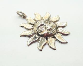 Sterling Silver Sun Pendant Necklace /20 Inch Sterling Silver Chain included/Free Shipping US/Vintage Silver Sun Pendant/Sun Charm