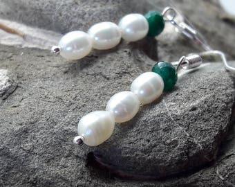 Emerald Pearl Sterling Silver Earrings/Dangle Earrings/Wedding Earrings/Bride     /Bridesmaid/May Birthstone/June Birthstone/Gift for Her