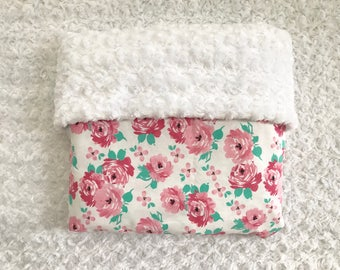 baby girl pink floral blanket Personalized; baby girl flower nursery blanket; pink nursery; personalized pink floral receiving blanket;