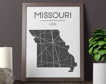 Missouri Map Print, Missouri Wall Art, Missouri Room Decor, State Sign, Missouri State Print, Missouri Print, Missouri Printable, JPG