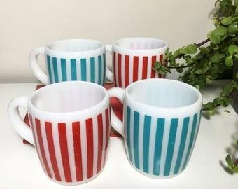 Vintage Hazel Atlas Red and Blue Striped Mugs - Set of 4