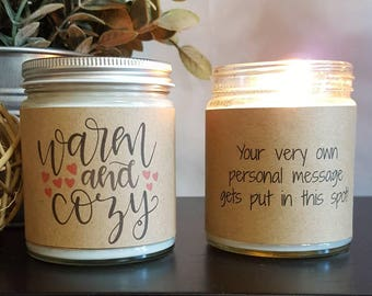 Warm and Cozy, 8 oz soy candle, Soy Candle Gift,  Personalized Candle Gift, thinking of you, winter candle, winter candle gift