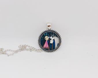 Abstract Unicorn & Girl Pendant Necklace