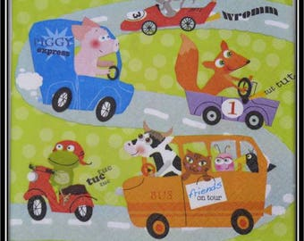 """""""animals in cars"""" paper towel"""