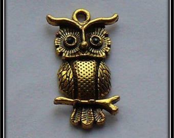 OWL charm antique gold