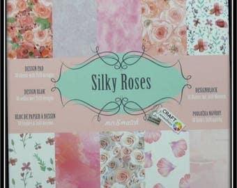 """Bloc 15x15, 30 feuilles, """"Silky Roses"""""""
