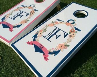 Initial Anchor Wedding Cornhole Boards, Wedding Cornhole Boards, Lawn Games, Guest Entertainment, Bag Toss, Nautical Cornhole Boards