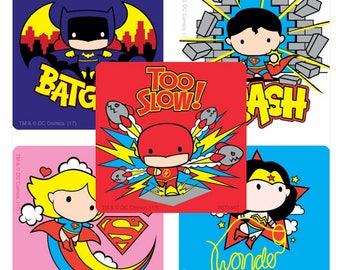 "25 Justice League Chibi Stickers, 2.5"" x 2.5"" Each"