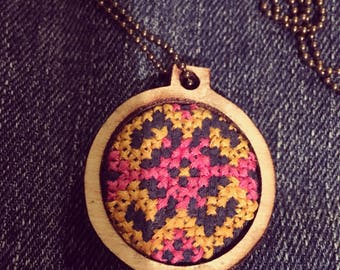 1 Inch Wooden Hoop-Pink and Yellow Tribal Print Necklace