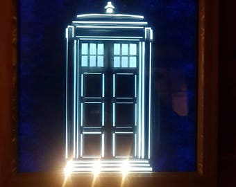 TARDIS light-up shadowbox frame