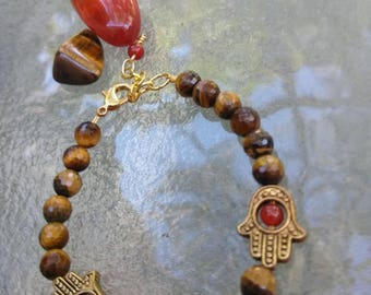 Tigers Eye and Carnelian Hamsa Charm Bracelet , Root Chakra , Sacral Chakra , Healing Jewelry, Healing Stones Jewelry