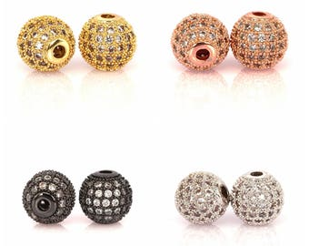 Round ball bead Micro Paved Beads,Clear Cubic Zirconia CZ beads,Women Bracelet Charms Spacers