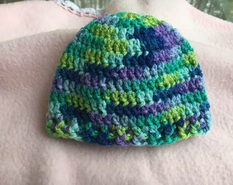 Baby  Crochet Hat multi colour Beanie   newborn