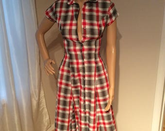 Handmade Red/Grey Button Front Plaid Dress, fit and flair design