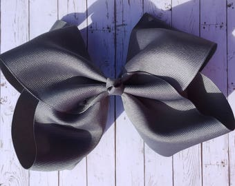 Large JoJo Style Hairbow - Gray Silver