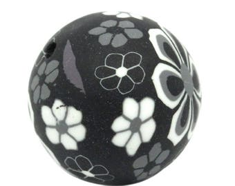 Black with white flowers and grey polymer clay bead