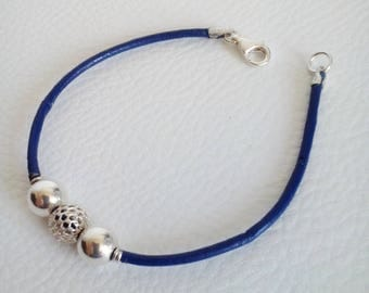 Leather Bracelet Navy Blue and silver