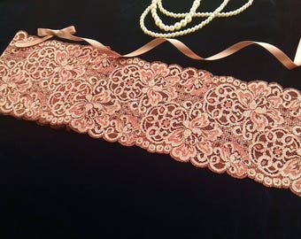 1yd (0.91m) of Raschel Stretch Lace- Antique rose red floral pattern - 13cm(5.1inch) Wide,RL_SL017