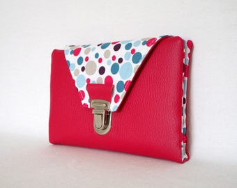 Faux fuchsia leather wallet and bubbles pattern fabric