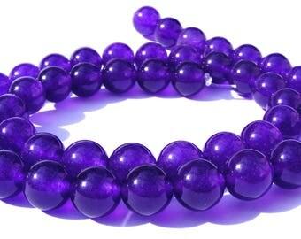 8 améthystes de Russie de 8 mm perles pierre violette foncé.