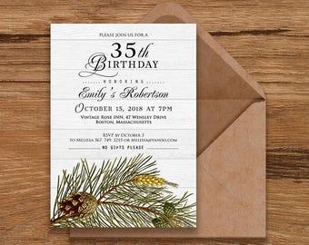 Pine Tree Birthday Invitations Forest Pine Birthday Rustic Wood Invitations Elegant Birthday Printable Invites Pine Cone Invitation Editable