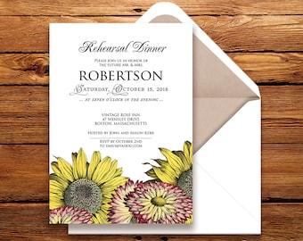Garden Wedding Rehearsal Dinner Invitation Sunflowers & Gerbera Printable Wedding Rehearsal Invitation Country Rustic Floral Wedding Invite