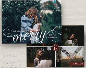 Christmas Card Template, Holiday Card Template, Photo Christmas Card Template, Photoshop Christmas Card Template, PSD Template, 5x7 Card