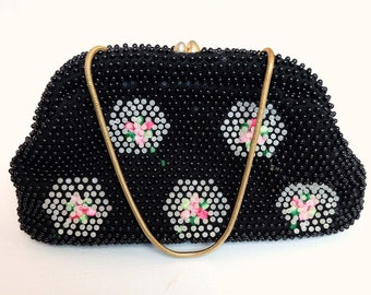 Japanese Vintage Handbag / Clutch Bag Black Beads Hexagon Flowers M190