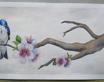 "Watercolor painting ""Swallow on the cherry branch"""
