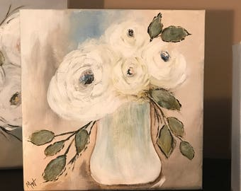 White blossom floral vase original acrylic painting, 10x10 gallery wrapped canvas