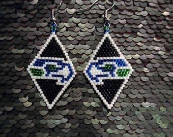 Seahawk Peyote Stitch Earrings