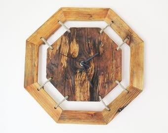 Octagonal Wooden Clock - Home Decor - Handmade Clock - Vintage Wall Clock - Vintage Clock - Eco Wall Clock - Unique Wall Clock - Wood Clock