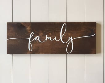 Family Wood Sign   Hand Painted, Family, Wood Wall Art, Wood Sign, Wedding Gift, Farmhouse style, Family Sign, Family Gift, Anniversary Gift