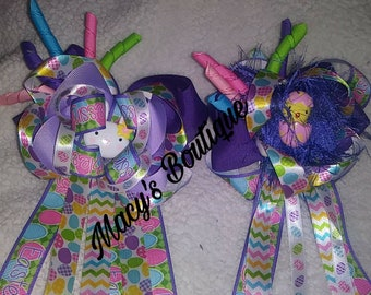 4 1/2 inch stacked boutique Easter hair bow