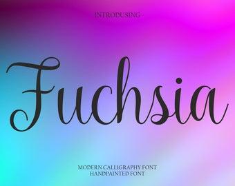 Calligraphy Font Handwritten Script Wedding Watercolor Instant Download - Fuchsia Font
