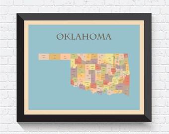 Oklahoma Map, Oklahoma Poster, Oklahoma Print, Map of Oklahoma, Oklahoma Art, Oklahoma Decor, Oklahoma Map Print, Oklahoma, USA