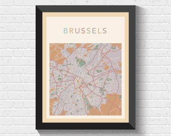 Brussels Map, Brussels Street Map, Brussels City Map, Brussels Print, Brussels Poster, Brussels Map Print, Printable Art, Brussels, Belgium