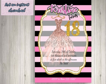 18th birthday invitation - Printable File
